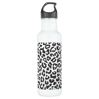 Black & White Leopard Print Animal Skin Patterns 710 Ml Water Bottle