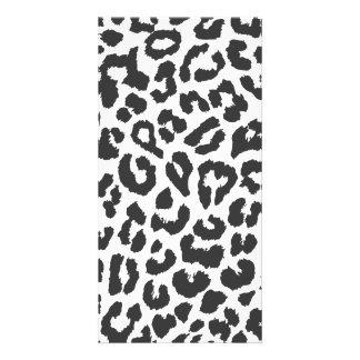 Black & White Leopard Print Animal Skin Patterns Card