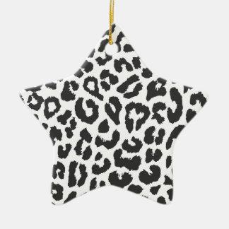 Black & White Leopard Print Animal Skin Patterns Ceramic Ornament