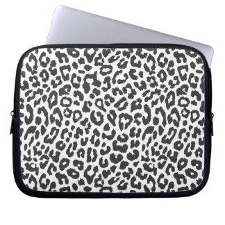 Black & White Leopard Print Animal Skin Patterns Computer Sleeve