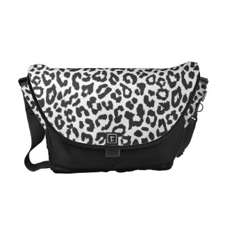 Black & White Leopard Print Animal Skin Patterns Courier Bags