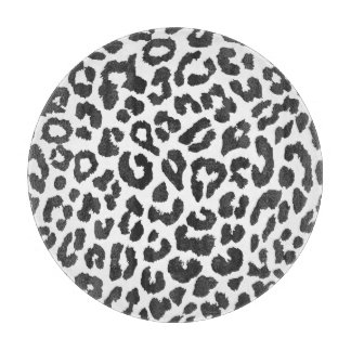 Black & White Leopard Print Animal Skin Patterns Cutting Board