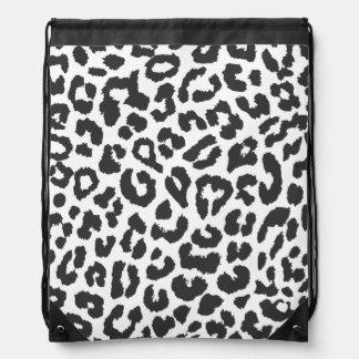 Black & White Leopard Print Animal Skin Patterns Drawstring Bag