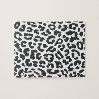 Black & White Leopard Print Animal Skin Patterns Jigsaw Puzzle