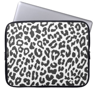 Black & White Leopard Print Animal Skin Patterns Laptop Sleeve