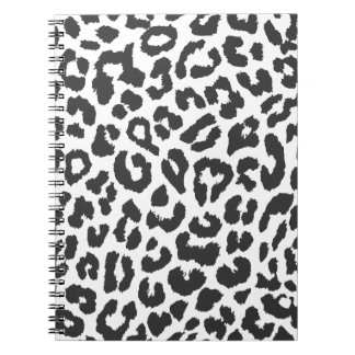 Black & White Leopard Print Animal Skin Patterns Notebook