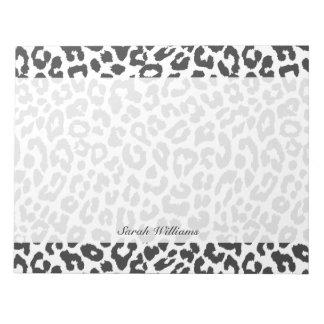Black & White Leopard Print Animal Skin Patterns Notepad