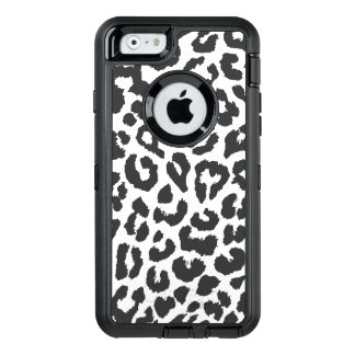 Black & White Leopard Print Animal Skin Patterns OtterBox Defender iPhone Case