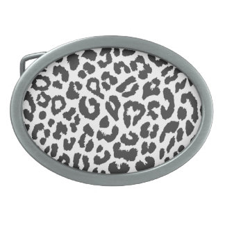 Black & White Leopard Print Animal Skin Patterns Oval Belt Buckles