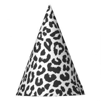 Black & White Leopard Print Animal Skin Patterns Party Hat