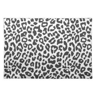Black & White Leopard Print Animal Skin Patterns Placemat