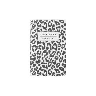 Black & White Leopard Print Animal Skin Patterns Pocket Moleskine Notebook