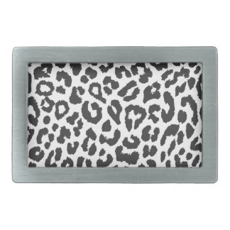 Black & White Leopard Print Animal Skin Patterns Rectangular Belt Buckles