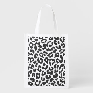 Black & White Leopard Print Animal Skin Patterns Reusable Grocery Bag