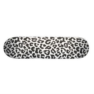 Black & White Leopard Print Animal Skin Patterns Skateboard