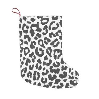 Black & White Leopard Print Animal Skin Patterns Small Christmas Stocking