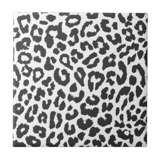 Black & White Leopard Print Animal Skin Patterns Small Square Tile