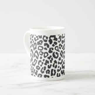 Black & White Leopard Print Animal Skin Patterns Tea Cup