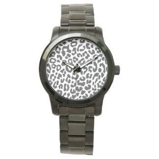 Black & White Leopard Print Animal Skin Patterns Watch