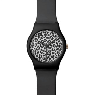 Black & White Leopard Print Animal Skin Patterns Watch