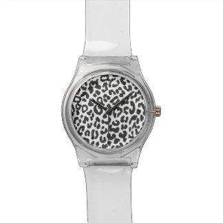 Black & White Leopard Print Animal Skin Patterns Wristwatch