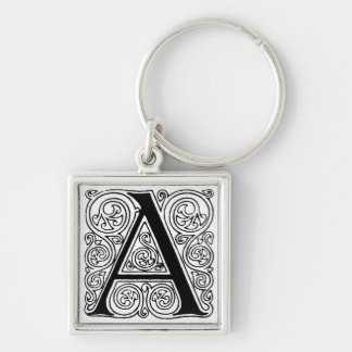 Black & White Letter 'A' - Keychain