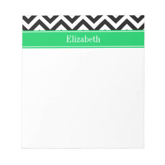 Black White LG Chevron Emerald Name Monogram Notepad