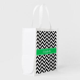 Black White LG Chevron Emerald Name Monogram Reusable Grocery Bag