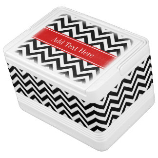 Black White LG Chevron Red Name Monogram Cooler