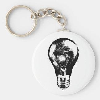 Black & White Light Bulb - Keychain
