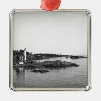 black white light house metal ornament
