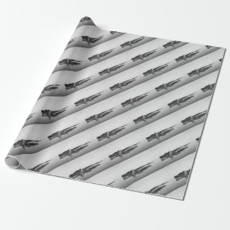 black white light house wrapping paper
