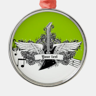 Black white lime electric guitar & wings ornament
