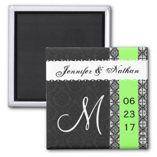 Black White Lime Green Damask Lace Wedding Magnet
