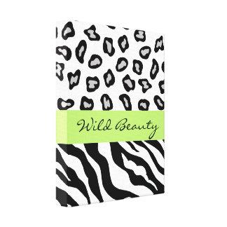 Black, White & Lime Green Zebra & Cheetah Custom Stretched Canvas Print