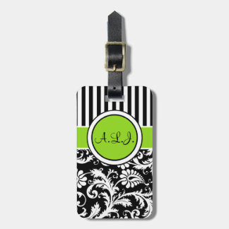 Black, White, Lime Striped Damask Luggage Tag