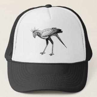Black & White Line Drawing Secretary Bird Trucker Hat
