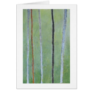 Black & white lines on green abstract painting note card