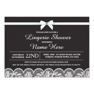 Black White Lingerie Bridal Shower Lace Invitation