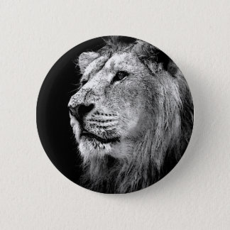 Black & White Lion 6 Cm Round Badge