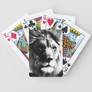 Black & White Lion Bicycle Playing Cards