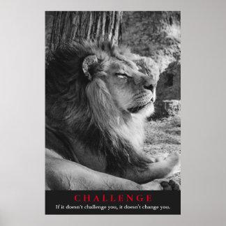 Black & White Lion Challenge Poster