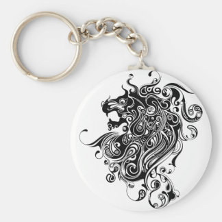 Black & White Lion Head Tattoo Style Key Ring