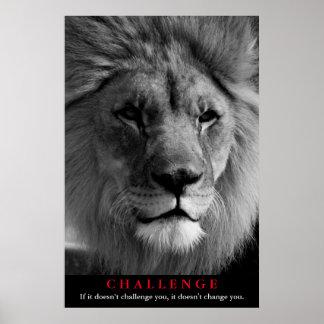 Black & White Lion Motivational Challenge Poster
