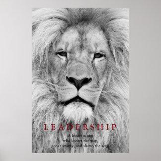 Black & White Lion Motivational Leadership Quote Poster