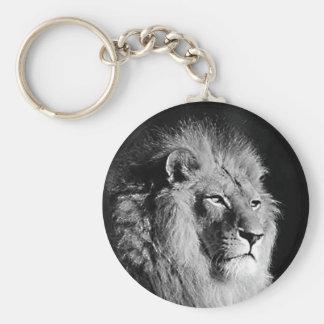 Black & White Lion Photo Basic Round Button Key Ring