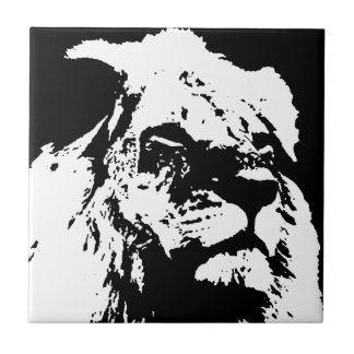 Black & white lion pop art small square tile