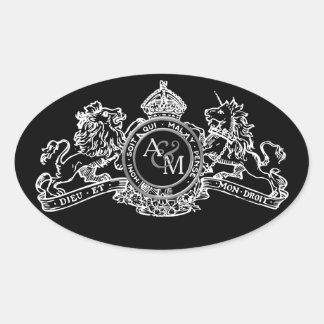 Black White Lion Unicorn Crown Wedding Emblem Oval Sticker