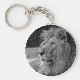 Black & White Lion - Wild Animal Basic Round Button Key Ring