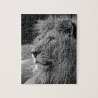 Black & White Lion - Wild Animal Jigsaw Puzzle